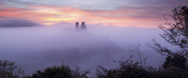 A misty sunrise at Corfe Castle